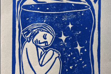 Untitled print showing a person in a bottle filled with stars, in blue ink